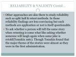 reliability validity contd1