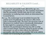 reliability validity contd3