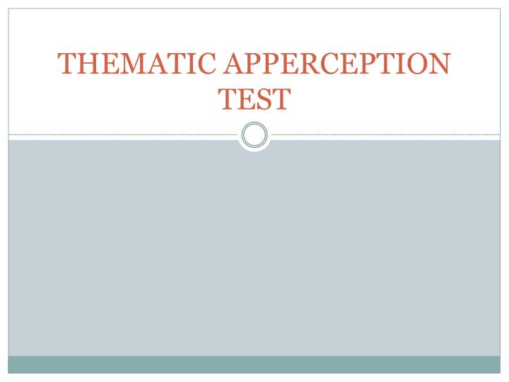 thematic apperception test n.