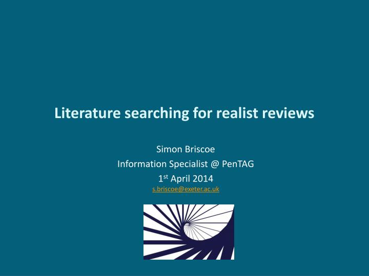 literature searching for realist reviews n.