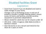 disabled facilities grant legislation