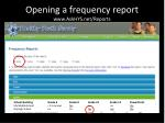 opening a frequency report www askhys net reports