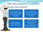 504 who decides if a student meets the criteria