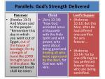 parallels god s strength delivered