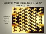 design for wood intarsia panel for leiden town hall 1940