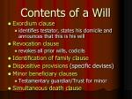 contents of a will