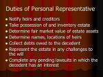 duties of personal representative