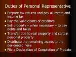 duties of personal representative1