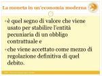 la moneta in un economia moderna