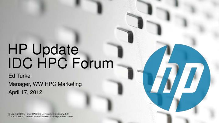 hp update idc hpc forum n.