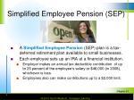 simplified employee pension sep