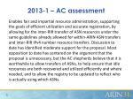 2013 1 ac assessment
