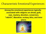 characteristic emotional experiences