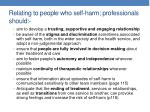 relating to people who self harm professionals should