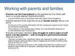 working with parents and families