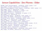 sensor capabilities dev phones older