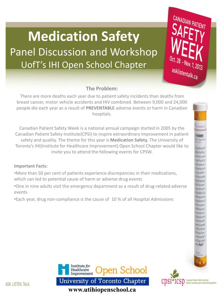 medication safety panel discussion and workshop uoft s ihi open s chool chapter n.