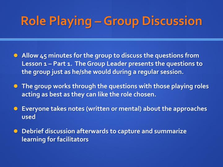 Role playing group discussion