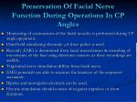 preservation of facial nerve function during operations in cp angles