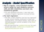 analysis m odel specification