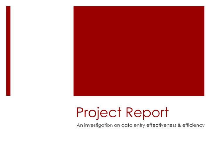 project report n.