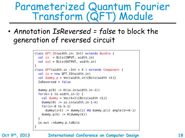 Parameterized Quantum Fourier