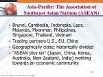 asia pacific the association of southeast asian nations asean
