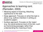 approaches to learning cont ramsden 2003