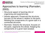 approaches to learning ramsden 2003