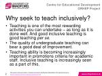 why seek to teach inclusively