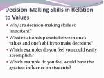 decision making skills in relation to values