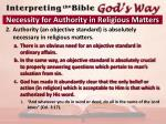 necessity for authority in religious matters1
