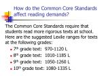 how do the common core standards affect reading demands