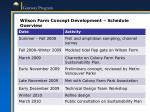 wilson farm concept development schedule overview