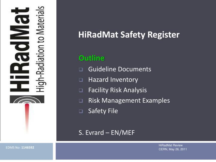 hiradmat safety register n.