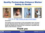 quality partnerships enhance worker safety health