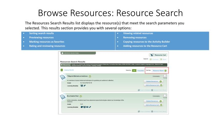 Browse Resources: Resource Search