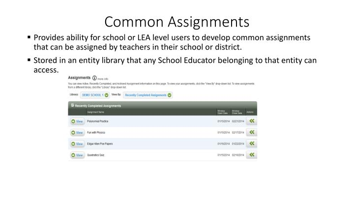 Common Assignments