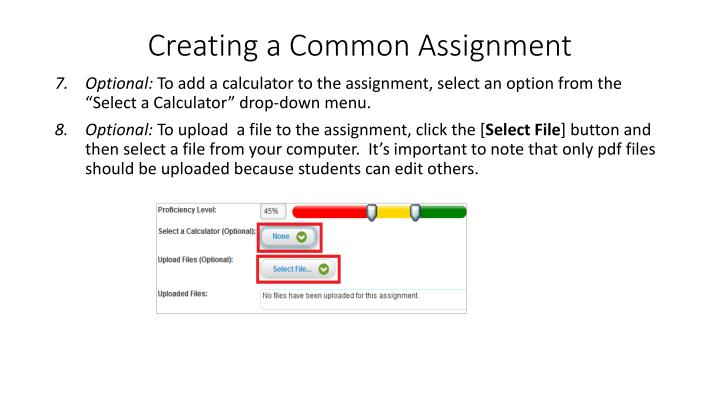 Creating a Common Assignment