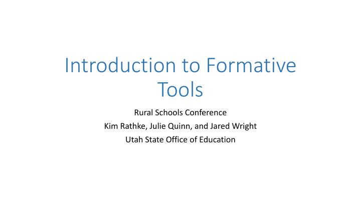 introduction to formative tools n.