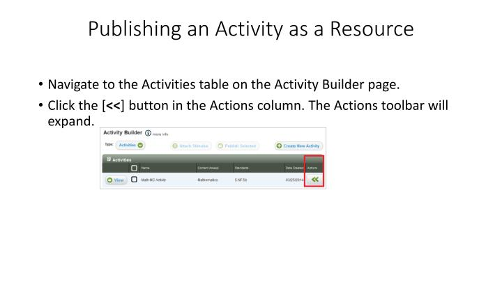 Publishing an Activity as a Resource