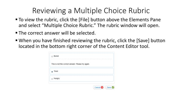 Reviewing a Multiple Choice Rubric