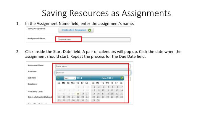 Saving Resources as Assignments