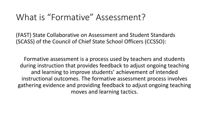"""What is """"Formative"""" Assessment?"""