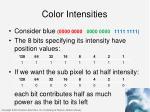 color intensities