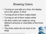 showing colors