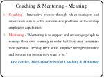 coaching mentoring meaning