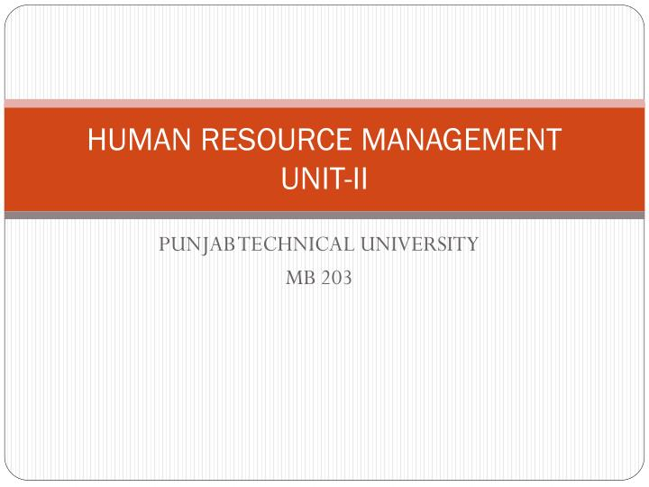 human resource management unit ii n.