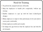 need for training