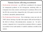 various factors affecting recruitment